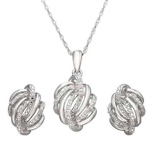 1/10 CT. T.W. Diamond Love Knot Boxed Jewelry Set