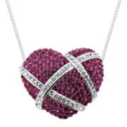 Pink & Clear Crystal Heart Pendant
