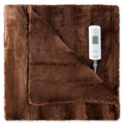 Sunbeam® Faux-Fur Heated Throw
