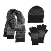 MUK LUKS® 3-pc. Jacquard Beanie, Scarf and Texting Gloves Set
