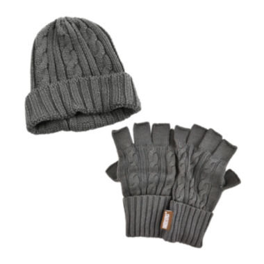 jcpenney.com | MUK LUKS® 2-pc. Cable Knit Beanie and Fingerless Gloves Set