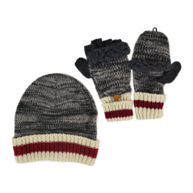 jcpenney.com | MUK LUKS® 2-pc. Marled Beanie and Flip Gloves Set