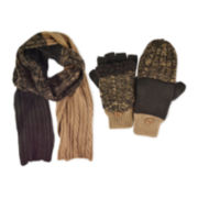 MUK LUKS® 2-pc. Cable Knit Colorblock Scarf and Flip Gloves Set