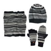MUK LUKS® 3-pc. Fair Isle Slouch Beanie, Scarf and Flip Gloves Set