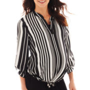 Maternity 3/4-Sleeve Striped Chiffon Blouse - Plus