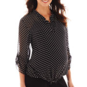 Maternity 3/4-Sleeve Polka Dot Chiffon Blouse