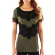 a.n.a® Short-Sleeve Lace-Blocked Top