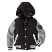 Weatherproof® Hooded Varsity Vest Fleece-Sleeve Jacket - Boys 6-20