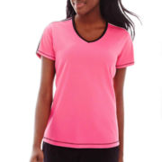 Made For Life™ Short-Sleeve Taped Mesh Tee - Petite