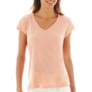 a.n.a® Short-Sleeve Shirred-Back V-Neck Tee