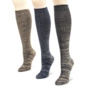MUK LUKS® Womens 3-pk. Marled Knee-High Socks