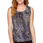 Black Label by Evan-Picone Mixed Dot Print Tank Top