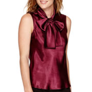 Black Label by Evan-Picone Sleeveless Bow Blouse
