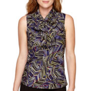 Black Label by Evan-Picone Sleeveless Print Bow Blouse