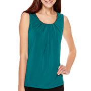 Worthington® Metal-Trim Pleat-Neck Tank Top - Tall
