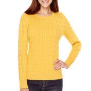 St. John's Bay® Long-Sleeve Cable Crewneck Sweater - Tall