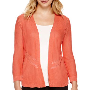 jcpenney.com | Worthington® Pointelle Open Flyaway Cardigan Sweater - Petite