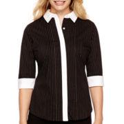 Worthington® 3/4-Sleeve Button-Front Shirt - Petite