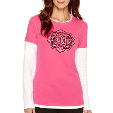 jcpenney.com | Made For Life™ Long-Sleeve Graphic Print Layered T-Shirt - Petite