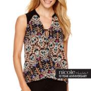 nicole by Nicole Miller® Sleeveless Print Drape Blouse