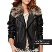 nicole by Nicole Miller® Long-Sleeve Faux-Leather Jacket