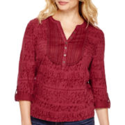 St. John's Bay® 3/4-Sleeve Lace Burnout Textured Henley - Petite