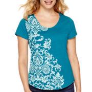 St. John's Bay® Short-Sleeve Solid Graphic T-Shirt - Petite