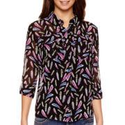 I 'Heart' Ronson® 3/4-Sleeve Roll-Tab Print Blouse
