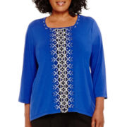 Alfred Dunner® Keep It Modern 3/4-Sleeve Center-Beaded Geometric Top - Plus