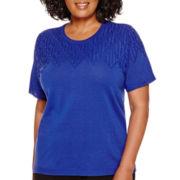 Alfred Dunner® Short-Sleeve Pointelle-Yoke Sweater Shell - Plus