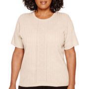 Alfred Dunner® Short-Sleeve Pointelle-Center Sweater Shell - Plus