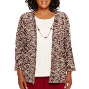 Alfred Dunner® Villa d'Este 3/4-Sleeve Layered Top with Necklace - Plus