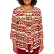 Alfred Dunner® Villa d'Este 3/4-Sleeve Zigzag Layered Top with Necklace - Plus