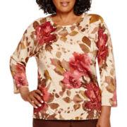 Alfred Dunner® Villa d'Este 3/4-Sleeve Floral Shimmer Sweater - Plus