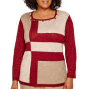 Alfred Dunner® Villa d'Este Long-Sleeve Sequin Colorblock Sweater - Plus