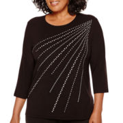 Alfred Dunner® Keep It Modern 3/4-Sleeve Studded Starburst Top - Plus
