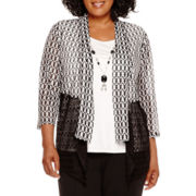 Alfred Dunner® Keep It Modern 3/4-Sleeve Layered Top with Necklace - Plus