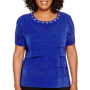 Alfred Dunner® Keep It Modern Short-Sleeve Tiered Accordion Top - Plus