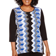 Alfred Dunner® Keep It Modern 3/4-Sleeve Vertical Geometric Print Top - Plus
