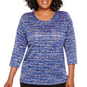 Alfred Dunner® Keep It Modern 3/4-Sleeve Space-Dyed Knit Top - Plus
