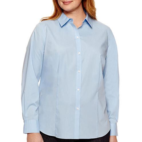 Liz Claiborne® Long-Sleeve Wrinkle-Free Shirt - Plus