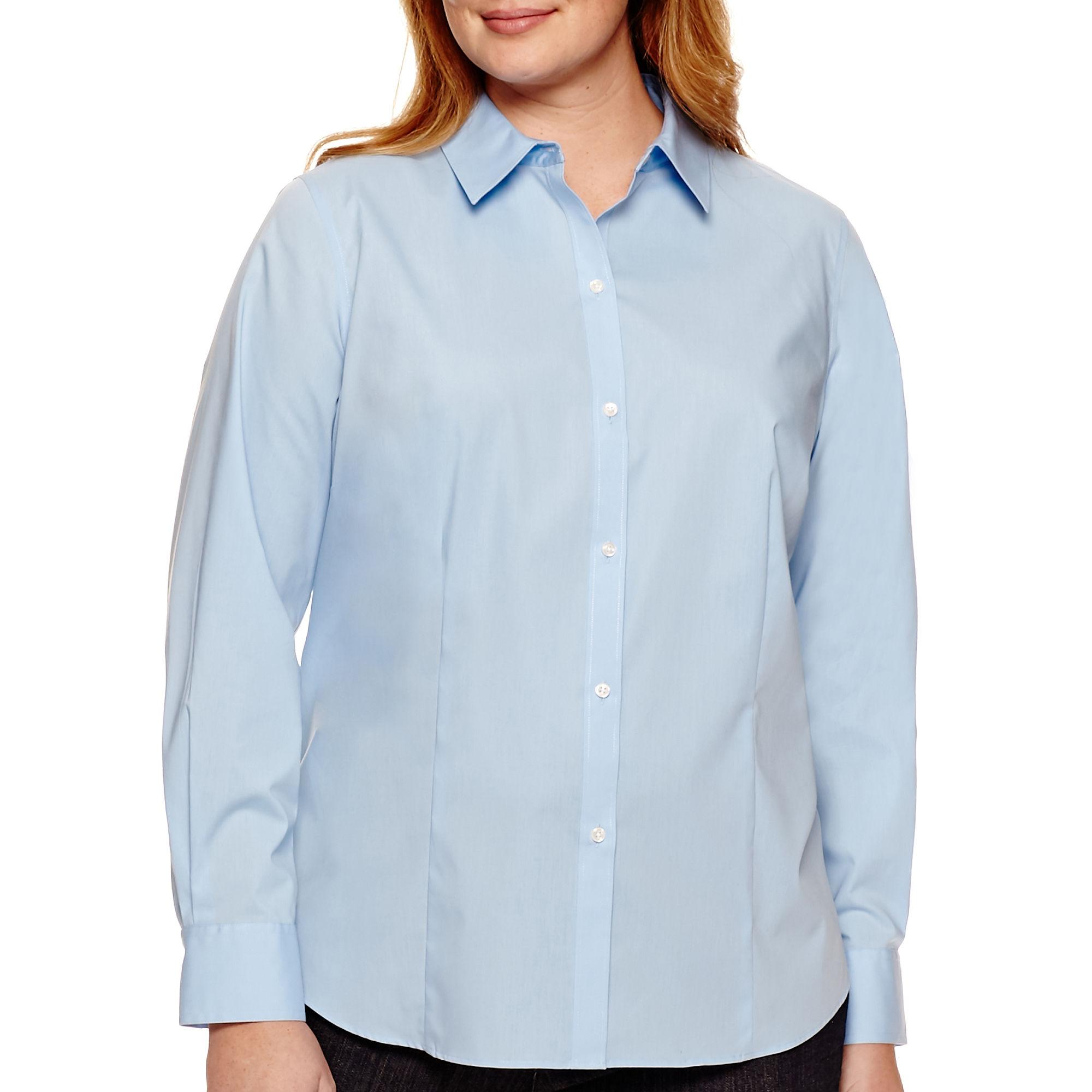 Liz Claiborne Long-Sleeve Wrinkle-Free Shirt - Plus