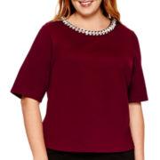 Liz Claiborne® 3/4-Sleeve Jeweled-Neck Textured Top - Plus