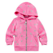 Okie Dokie® Heart-Print Fleece Hoodie - Baby Girls newborn-24m