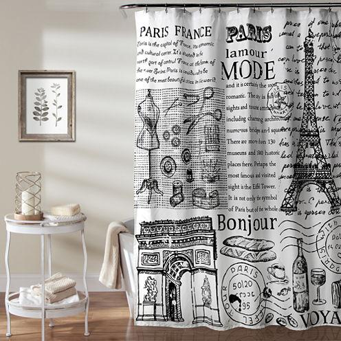 Lush Décor Paris France Shower Curtain