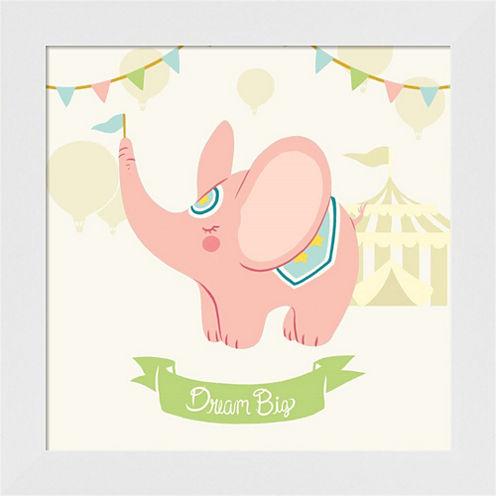 Little Circus Elephant Pastel Framed Wall Art
