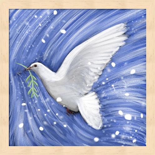 Dove In The Winter Wind Framed Wall Art