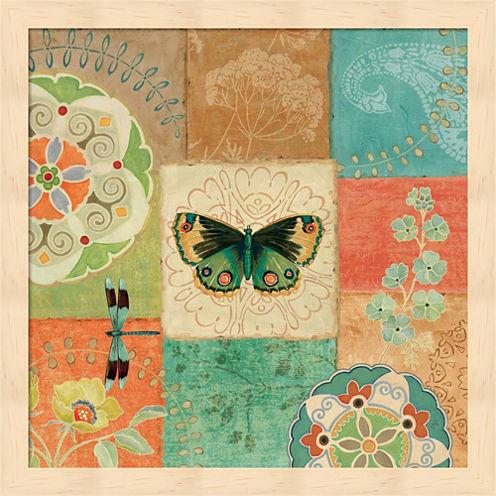 Folk Floral III Center Butterfly Framed Wall Art