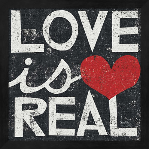 Love Is Real Grunge Square Framed Wall Art