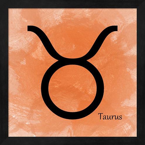 Taurus - Orange Framed Wall Art